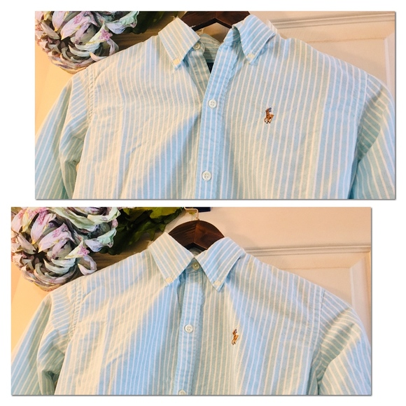 Ralph Lauren Tops - RALPH LAUREN Slim Fit Oxford - Blue Stripe 0 (XS)